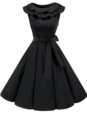 00ce3ffc323 Bridesmay Women s Sleeveless Ruffle Collar 50s Floral Vintage Rockabilly  Swing Cocktail Party Dress Black XS