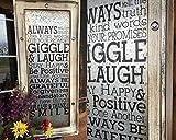 GIGGLE & LAUGH Framed Metal Cream Girls Girl Home Room Decor Child Child's Children's Baby Nursery