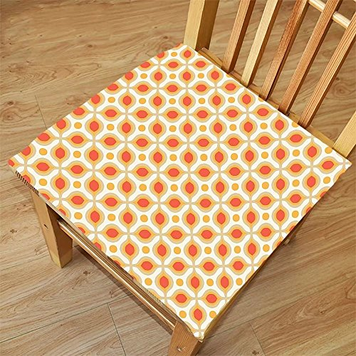 Nalahome Set of 2 Waterproof Cozy Seat Protector Cushion Geometric Decor Linked Bold Geometric Shapes 70S Vintage Style Minimalist Pattern Boho Orange Cream Printing Size - Face App Your Glasses Shape For