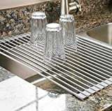 ULING Commercial Kitchen Folding Over The Sink Compact Dish Rack Dish Drying Rack (Stainless Steel, Grey Mat)
