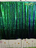 ShinyBeauty Mermaid-Sequin Curtain Backdrop-Green&Black-9FTX9FT,Sparkyly Sequin Fabric Curtain Backdrop,Perfect for Party/Wedding/Event/Prom/Birthday