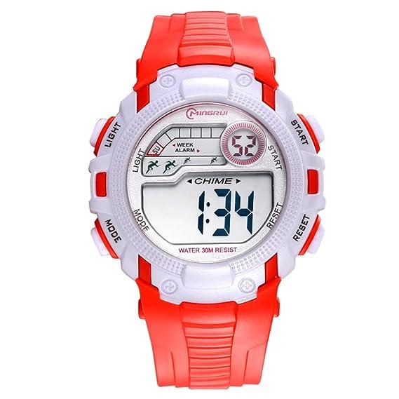 Relojes para niños/Chicas deporte digital resistente al agua reloj digital/ versátil con reloj digital alarma-D: Amazon.es: Relojes