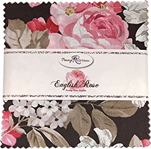 """English Rose 5"""" Stacker 42 5-inch Squares Charm Pack Penny Rose Fabrics"""