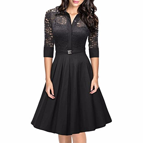Samtree Women's Vintage 3/4 Sleeve Lace Floral A-line Cocktail Party Swing Dress
