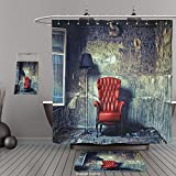 Uhoo Bathroom Suits & Shower Curtains Floor Mats And Bath TowelsAntique Decor Luxury Armchair Floor Lamp In Grunge Interior Damaged Messy Abandoned House Windows For Bathroom
