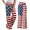 Women Casual pants HEAVEN 2017 - Women's Star Stripe American Flag Patriotic July 4th Drawstring Loose Leg Pants