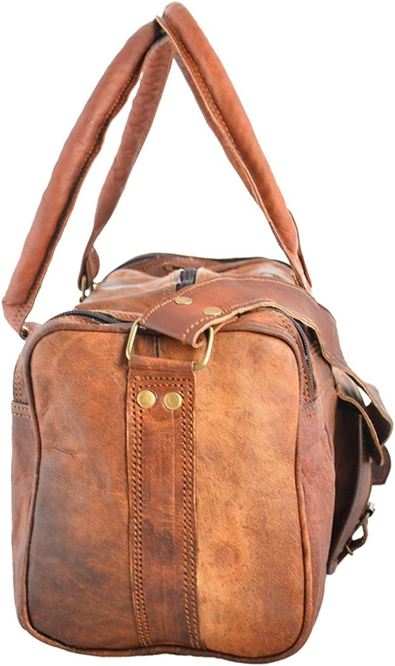 Brown 94 Handcrafted Exports Vintage Leather Duffel Round Shoulder Bag