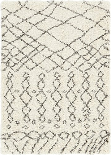 Unique Loom Rabat Shag Collection Tribal Moroccan Nomad Plush Pure Ivory Area Rug 4 0 x 6 0