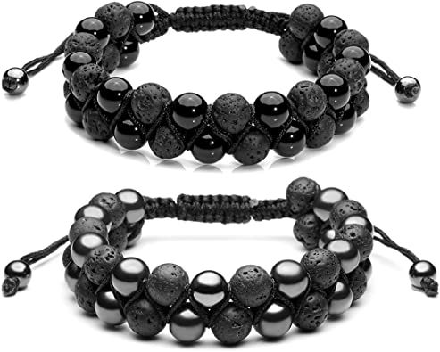 Happiness-Free Jewelry Black Adjustable Magnet Volcanic Stone Beads Bracelet for Women Accessories