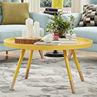 Modern 34' Diameter Paint-dipped Round Spindle Tray Top Coffee Table, Banana Yellow