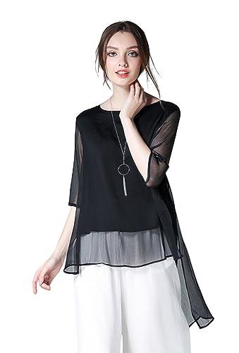 SOGXBUO - Camisas - Cuello redondo - manga 3/4 - para mujer