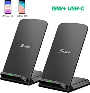 Seneo [2 Pack] 15W Qi-Certified Wireless Charger for LG V30/V40, 10W Fast Wireless Charging for Galaxy Note10/10+/9/8, S10/S9/S8, 7.5W for iPhone 11/11 Pro/11 Pro Max/XR/XS/Max/X/8/8Plus(No Adpater)