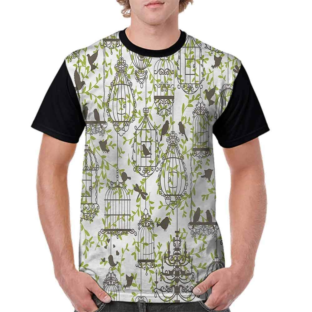 BlountDecor Performance T-Shirt,Lovely Birdcages and Ivy Fashion Personality Customization