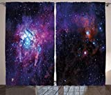 Ambesonne Galaxy Curtains 2 Panel Set, Starry Night Nebula Cloud in Galaxy Celestial Theme Image Space Decorations Print, Living Room Bedroom Decor, 108 W X 84 L Inches, Black Purple Blue