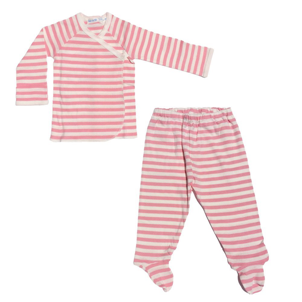 1-3 Month Classic Stripes Side Snap Layette Set in Rose Stripes Size