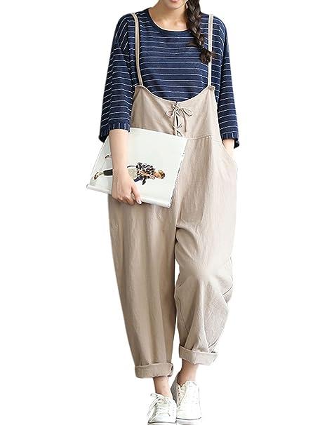 1d22859c441 Yeokou Women s Linen Wide Leg Jumpsuit Rompers Overalls Harem Pants Plus  Size (Small