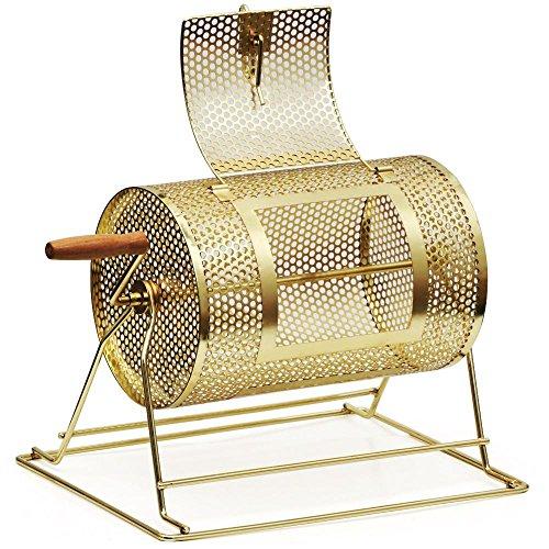 Yaheetech Brass Raffle Ticket Drum Bingo Casino Drawing Spinning Lottery, Medium (8