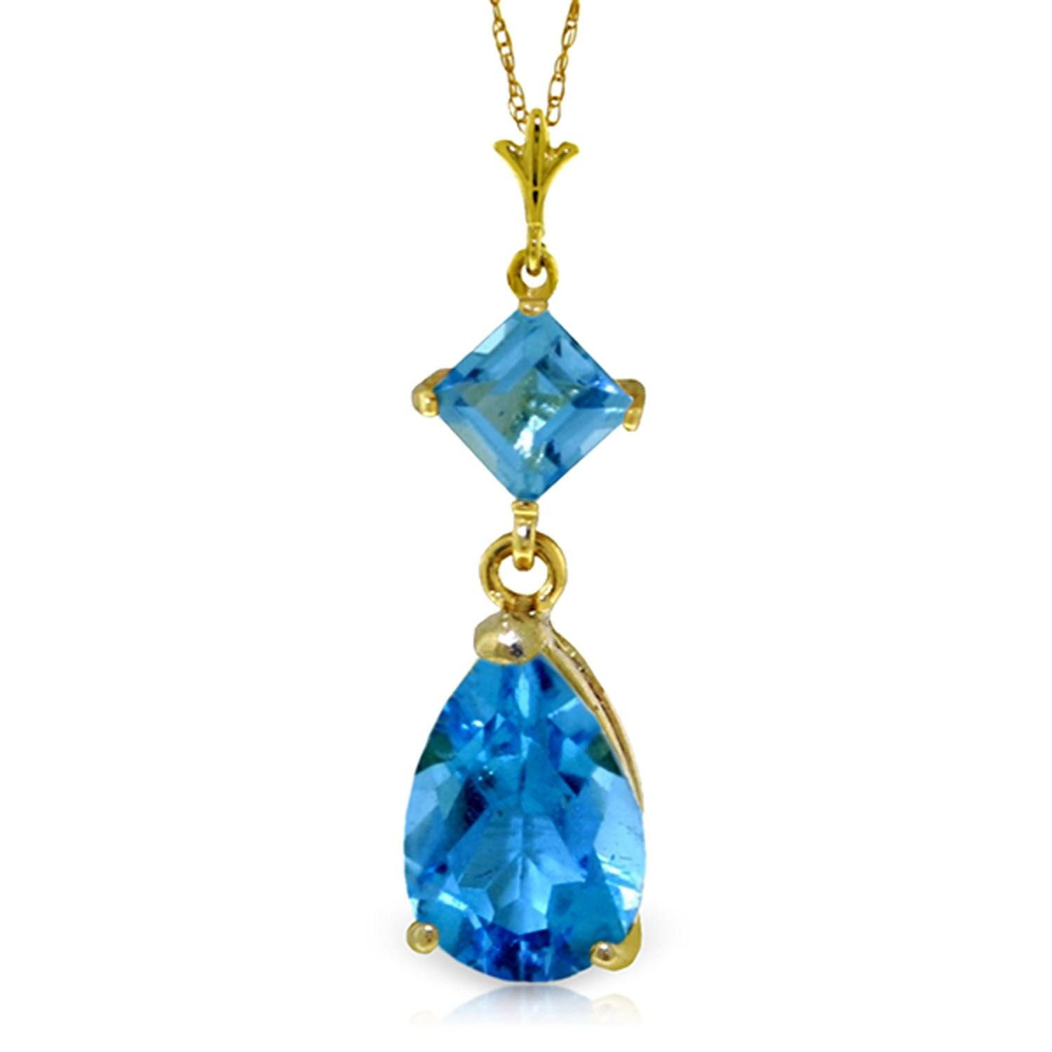 ALARRI 2 Carat 14K Solid Gold To Love Again Blue Topaz Necklace with 20 Inch Chain Length