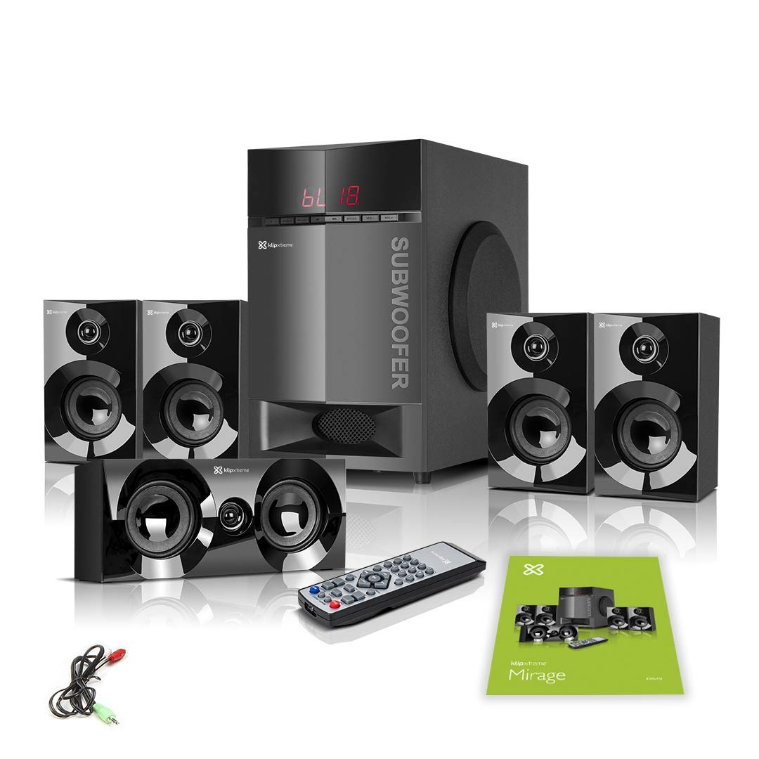 Klip Xtreme Mirage 5.1 Channel Stereo System with Subwoofer- 300 Watt Peak, 115W RMS Power- Compatible with Bluetooth, USB, Micro-SD, 3.5mm- 6X 3 Drivers, 1x 6.5 Sub Driver- LED Display- Black