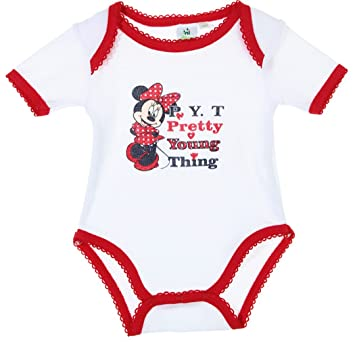 Body bébé fille manches courtes Minnie  Pretty young thing  Blanc rouge  23mois  Amazon.co.uk  Baby c3203ad83f1