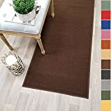 Custom Size Brown Solid Plain Rubber Backed Non-Slip Hallway Stair Runner Rug Carpet 31 inch Wide Choose Your Length 31in X 7ft