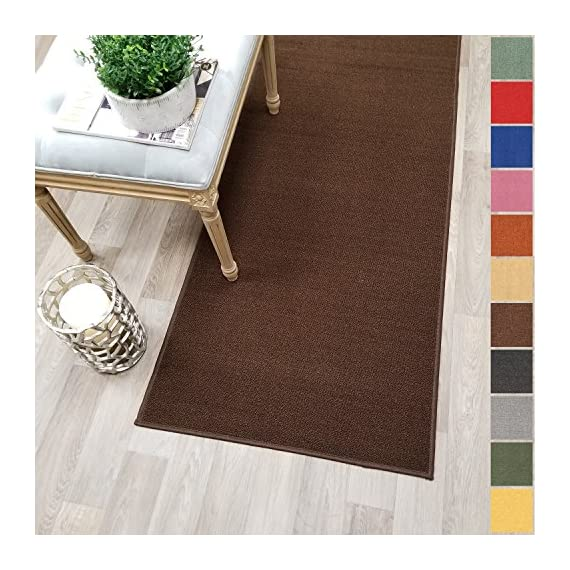 """Custom Size Brown Solid Plain Rubber Backed Non-Slip Hallway Stair Runner Rug Carpet 22 inch Wide Choose Your Length 22in X 6ft - COLORS: BROWN - ACTUAL SIZE: 22 inches x 6 feet Machine woven loop texture with 100% nylon pile for long lasting quality with vivid colors that won't fade away   With its stain, mold, mildew, bacteria, soil resistant polypropylene material; it is also an ideal addition to homes with kids and pets! Efficient LOW PILE (1/4"""") which does not add bulk to your floor and great fit under most of the doors   Custom made in the USA - Great for Events, Churches, Weddings, Aisles, Stairs, Hallways, etc. - runner-rugs, entryway-furniture-decor, entryway-laundry-room - 61kyAc3Sw2L. SS570  -"""