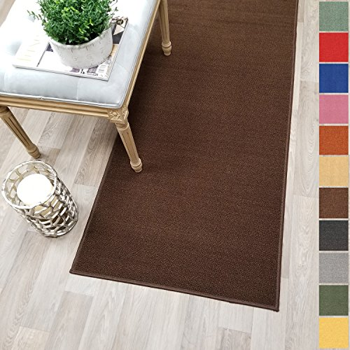 Custom Size Brown Solid Plain Rubber Backed Non-Slip Hallway Stair Runner Rug Carpet 22 inch Wide Choose Your Length 22in X 8ft -