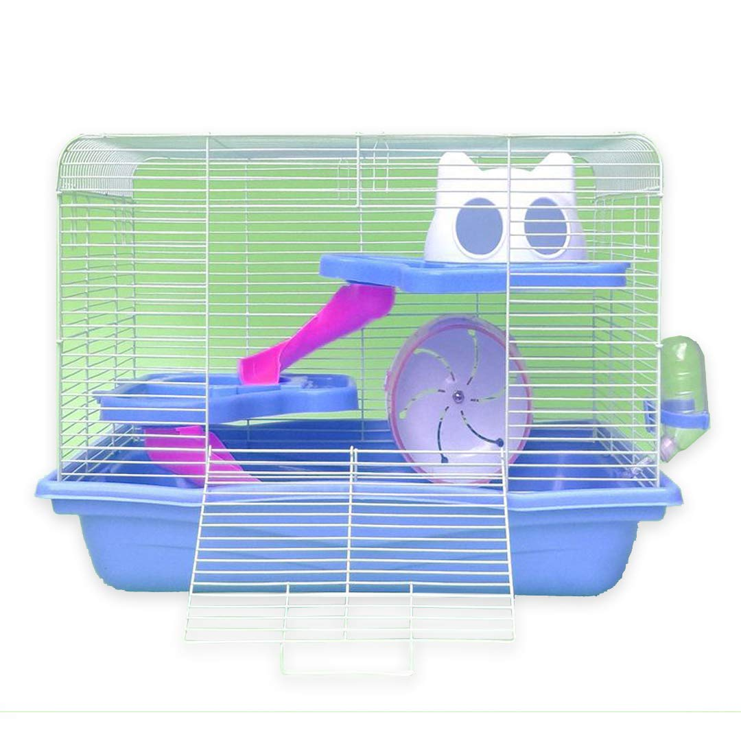 bluee ETbotu Large Three Layers Hamster Cottage Cage with Silent Running Wheel Slide House for Hamster Pet Light Brown L