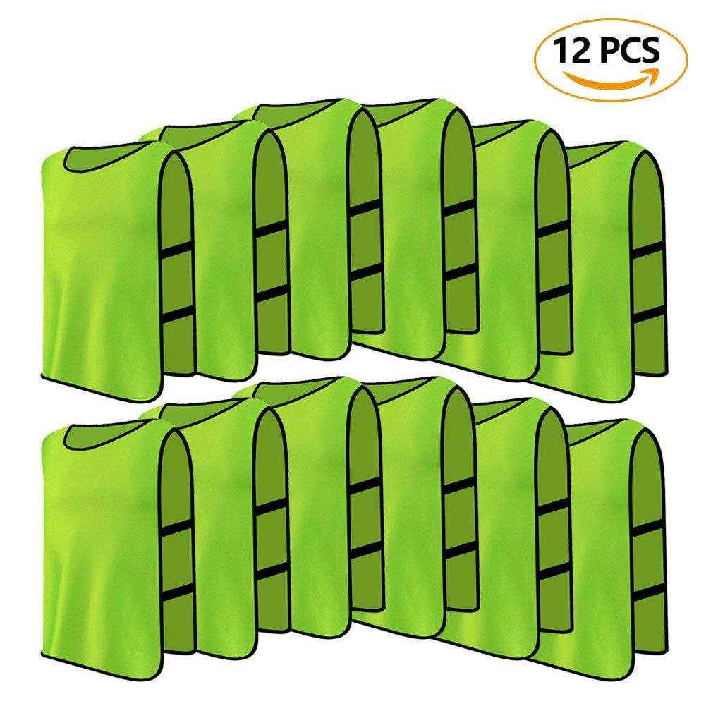 12パックジャージBibs通気性大人Football Scrimmageトレーニングベストfor点バレーボールサッカーバスケットボール B075YT15HT グリーン グリーン