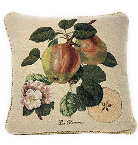 DaDa Bedding Throw Pillow Cover - Luxury Elegant Accent Splendor of Apples Fruit 1 Piece Decorative Tapestry Cushion Cover - 18