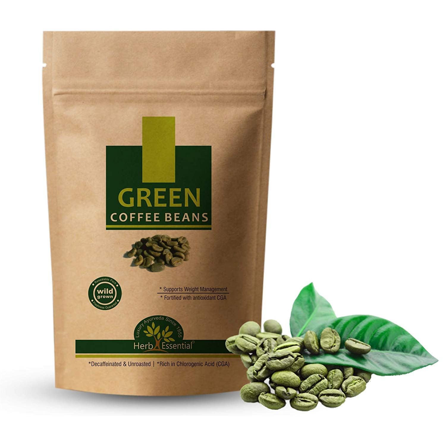 Herb Essential Unroasted and Decaffeinated Arabica Wild Grown Green Coffee for Weight Loss - 100 g