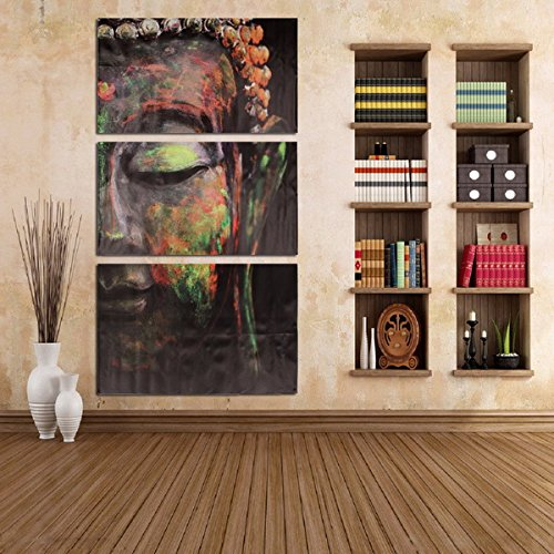 Yiping Brand New and Spray Oil Painting 40x60cm Buddha Statues Triple Frameless Canvas Prints Oil Painting Wall Art Home Decoration