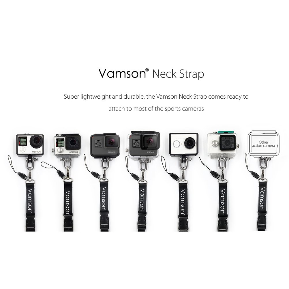 Vamson 60cm Detachable Long Neck Strap Lanyard Sling with Quick Release and Safety Tether for GoPro Hero 7//6// 5//4 for DJI OSMO Action//Xiaomi yi 4k and The Other Sports Action Cameras VP210