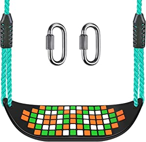 """BeneLabel Heavy Duty Swing Seat with Carabiners, Playground Swing Set Accessories Replacement, Adjustable Rope, Longest 97.4"""", Shortest 66.7"""", Seat Width 17.5"""", 220 LB Capacity, Mosaic Black"""
