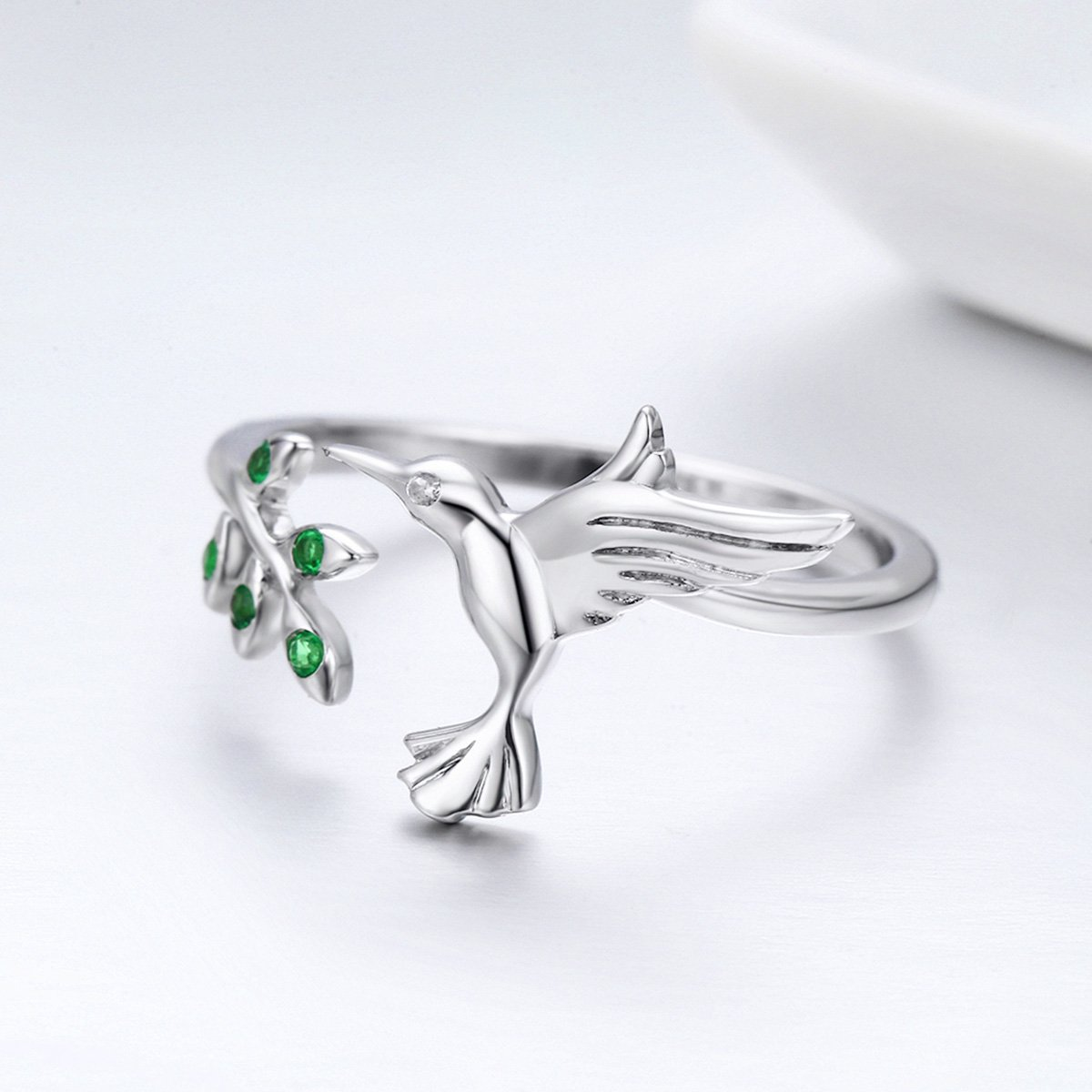 The Kiss Hummingbird /& Spring Tree Leave 925 Sterling Silver Adjustable Ring Green CZ