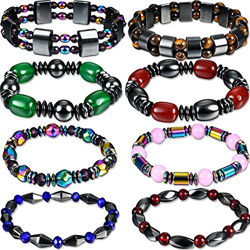 Yunanwa 8 Pack Women Men Bracelet Bangle Magnetic Hematite Health Healing Therapy Black Stone Magnetite Malachite Crystal Elastic Beads Jewelry
