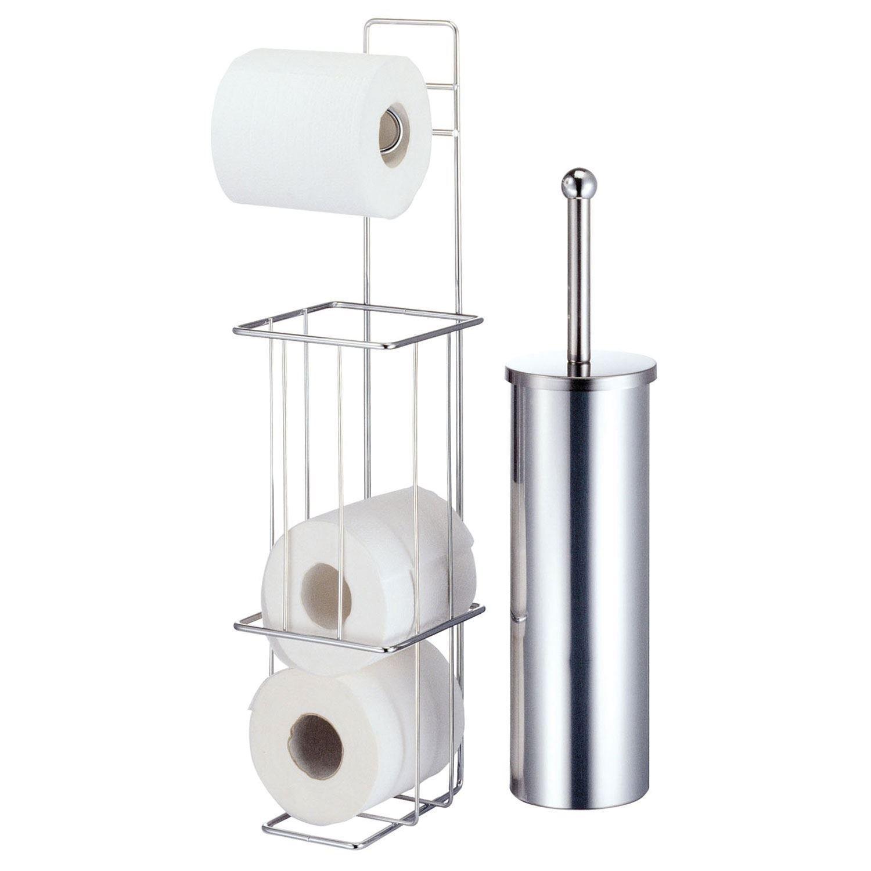chrom freistehender toilettenpapierhalter mit brste bad seidenpapier stnder amazonde kche haushalt - Freistehender Toilettenpapierhalter Chrom