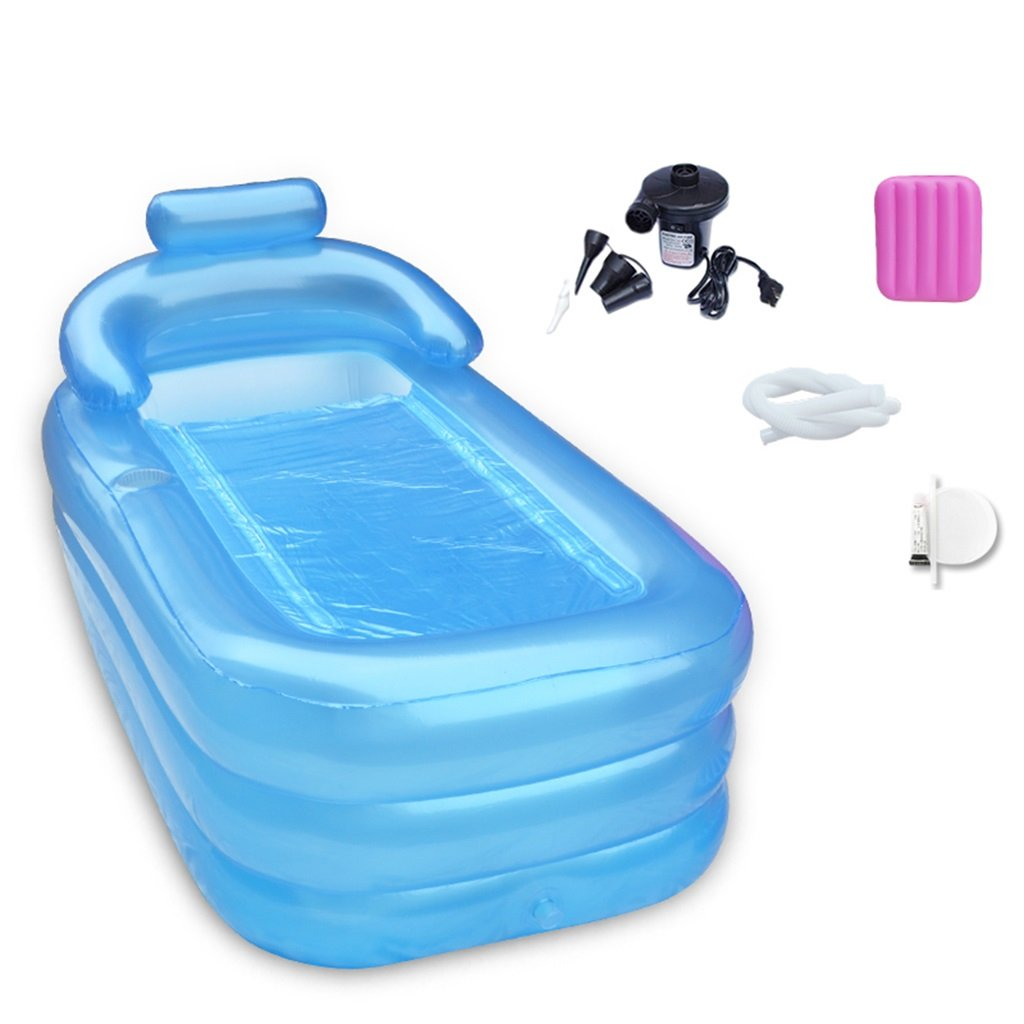 LQQGXL,Bath Inflatable Bathtub Electric Pump Warmer Adult Kids Family Bathtub Collapsible Bathtub Inflatable bathtub ( Color : Blue )