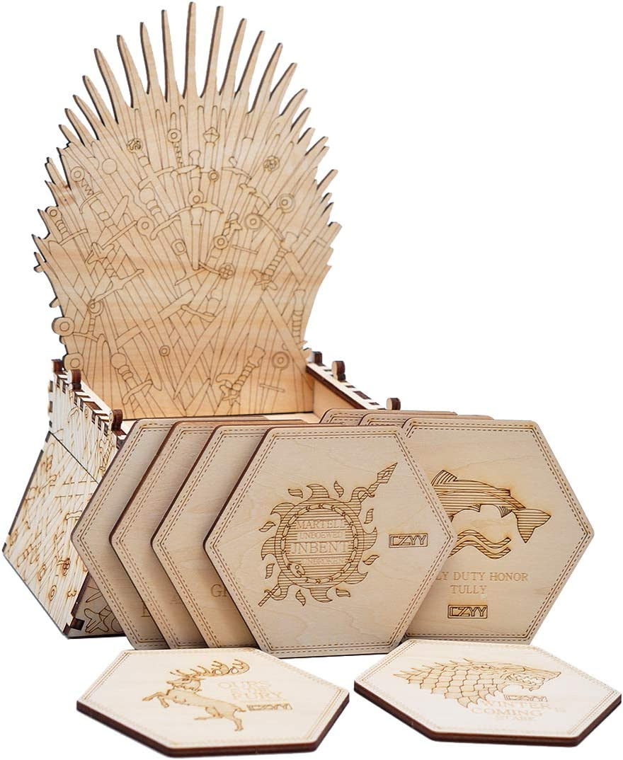 Game of Thrones Inspired Coasters with Iron Throne Holder Wood Laser Cut Set of 9 GOT House Sigil Coasters for Housewarming, Christmas, Anniversary or Home Decor