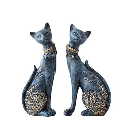 Amazon.com: Figuras talladas de resina clásica azul gato ...