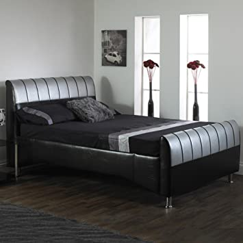 uk availability d9375 7d12a A & I Beds Luxury ark Black 4Ft Small Double Hand Made Faux ...