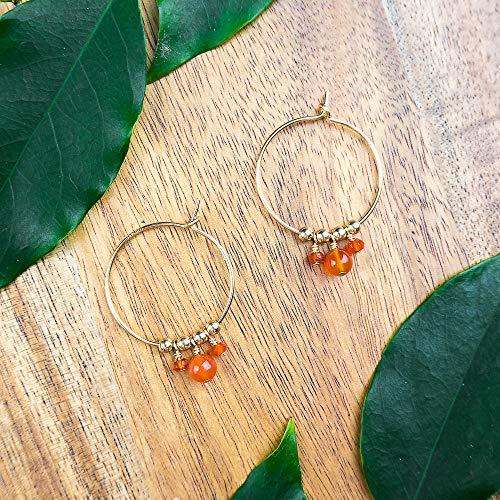 Boho carnelian hoop earrings in 14k gold fill - July birthstone