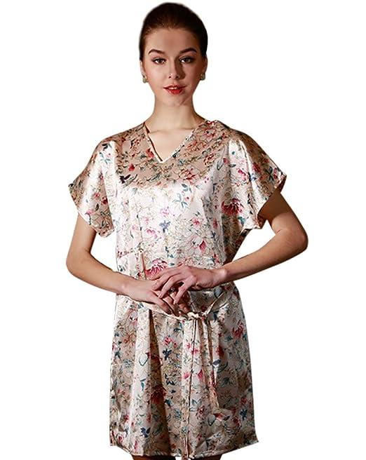 CHENGYANG Mujer Satén Camisones Seda Bata Albornoz V Escote Pijama con Patrón de Flores Lujoso Floral: Amazon.es: Ropa y accesorios