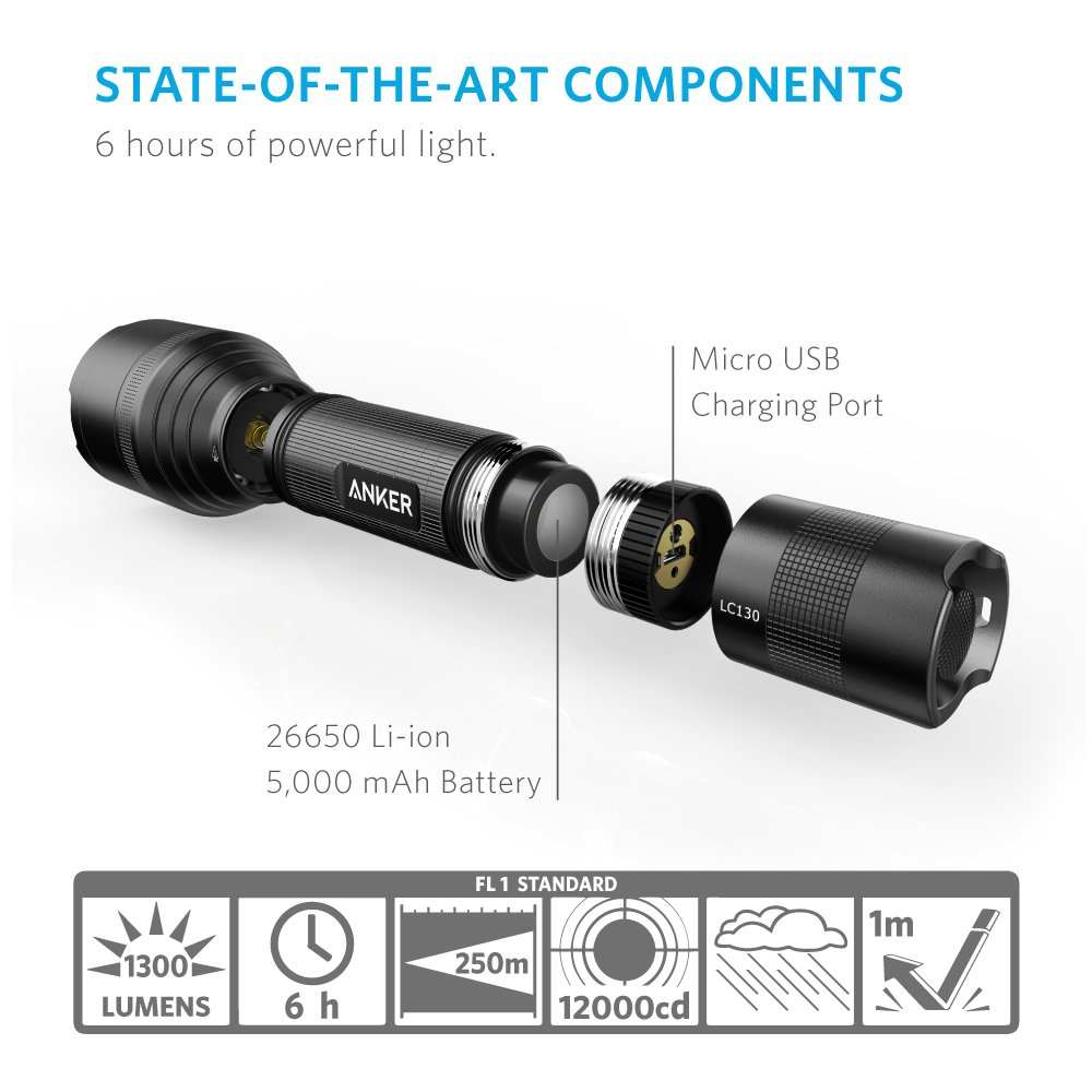 26650 Battery Included 5 Light Modes IP67 Water-Resistant Camping, Security, Emergency Use Professional Ultra-Bright 1300 Lumens from 3 CREE LEDs Torch Rechargeable Anker LC130 LED Flashlight