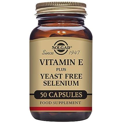 Solgar Vitamina E con Selenio (sin levadura) Cápsulas vegetales - Envase de 50