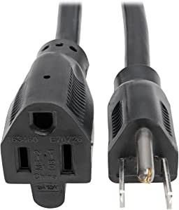 Tripp Lite Heavy-Duty Power Extension Cord 15A, 14AWG (NEMA 5-15P to NEMA 5-15R) 6-ft.(P024-006)