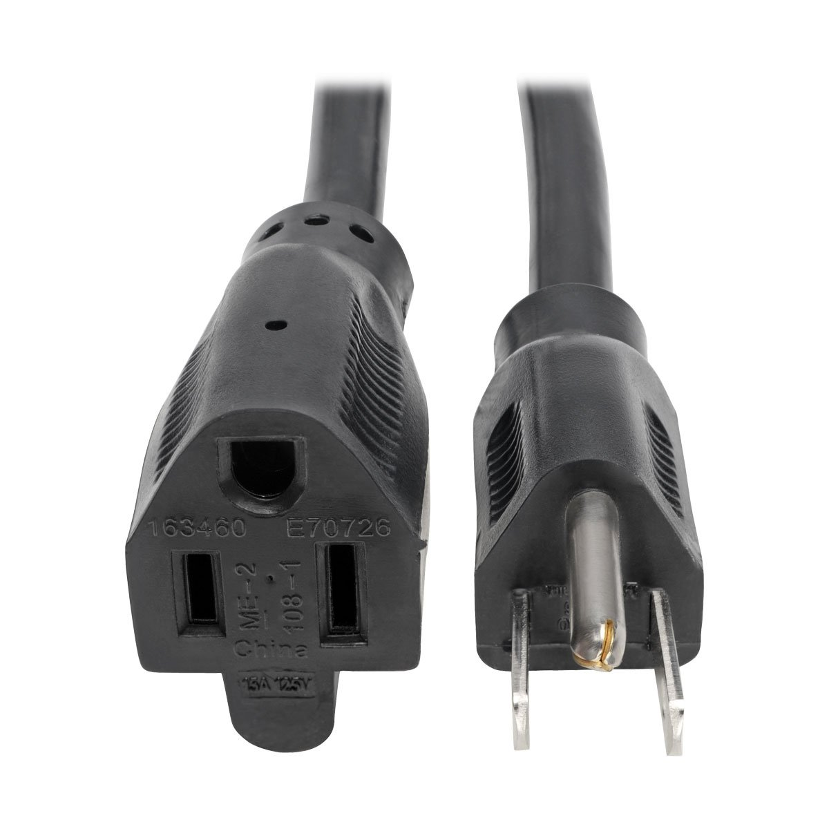 Tripp Lite Heavy-Duty Power Extension Cord 15A, 14AWG (NEMA 5-15P to NEMA 5-15R) 3-ft.(P024-003)