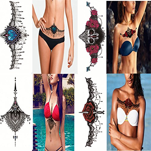 4 Sheets Sexy Women Jewelry Totem Temporary Tattoo Sticker Decal Body Art Makeup Waterproof Fake Tattoos for Lady Chest, Back, (Makeup In The 80s)