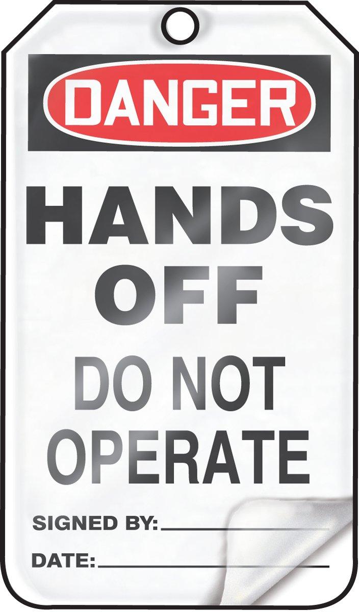 Red//Black on White Accuform MDT162LTP HS-Laminate Safety Tag LegendDanger Hands Off Do Not Operate 5.75 Length x 3.25 Width x 0.024 Thickness LegendDanger Hands Off Do Not Operate 5.75 Length x 3.25 Width x 0.024 Thickness Pack of 25