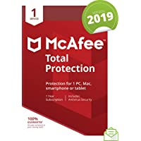 McAfee 2019 Total Protection, 1 Device, PC/Mac/Android/Smartphones [Download]